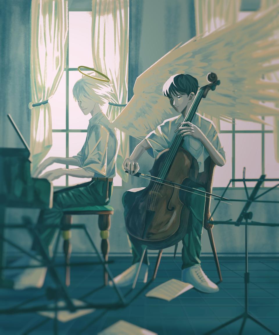 Kaworu and Shinji Illust of Atalia kawoshin EVANGELION iPad_raffle