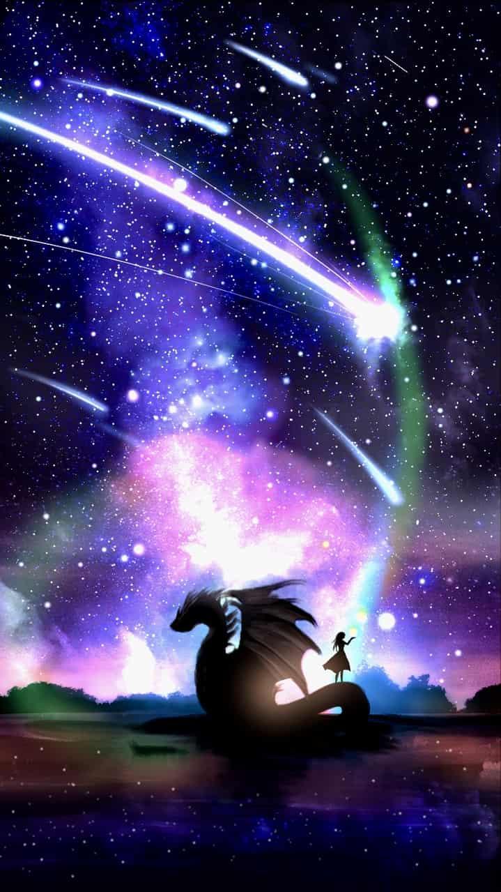 Orion Illust of ぽぽうどん ARTstreet_Ranking April.2020Contest:Color 流れ星 dragon 風景画 夜空