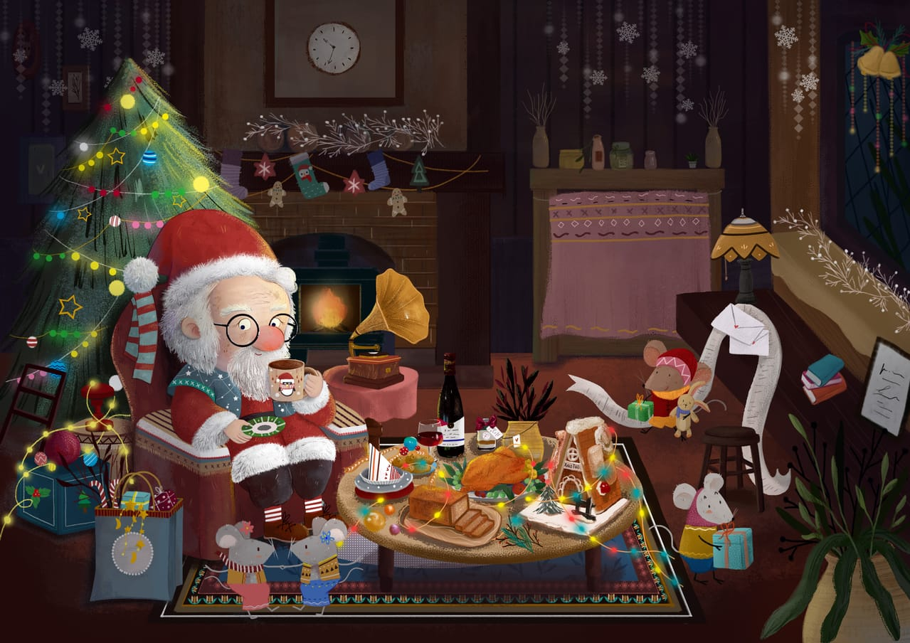 Santa at the end of delivery Illust of 小妥儿 December2020_Contest:Santa
