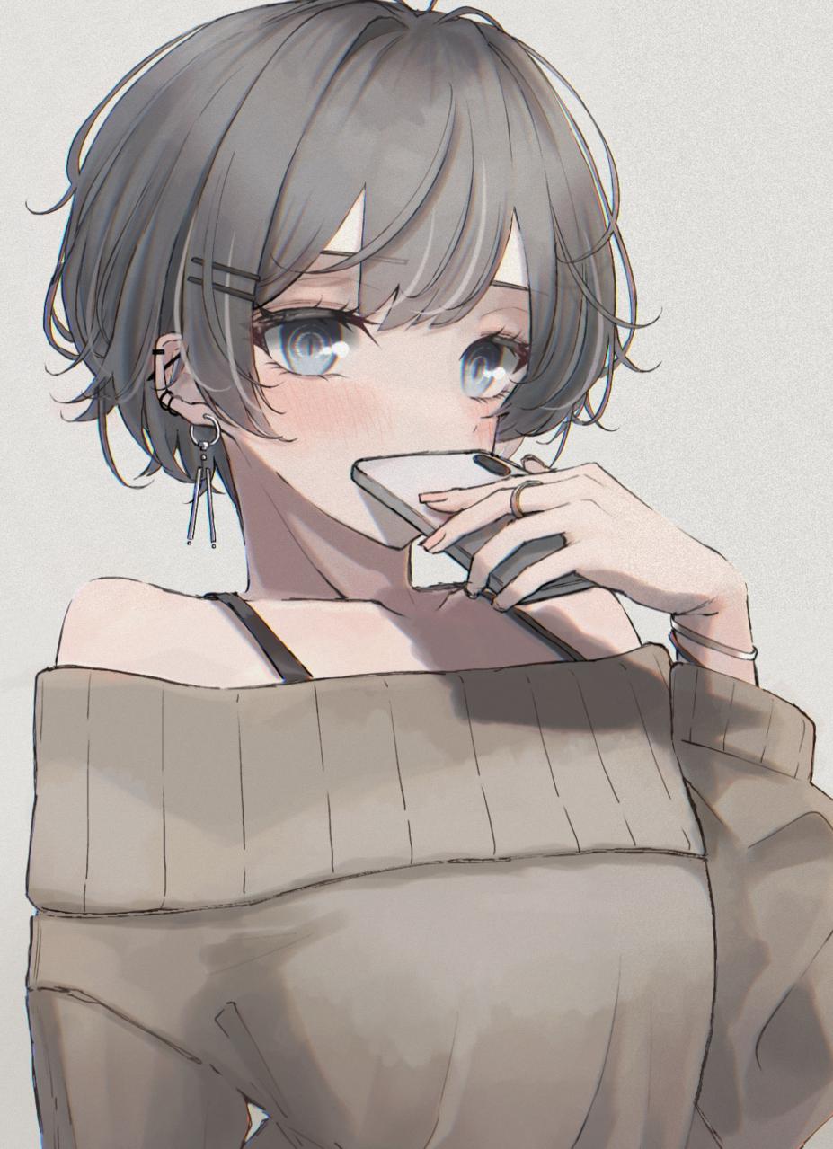 Short cut Illust of かにぱん illustration girl piercing kawaii oc watercolor アクセサリー ショートヘア ボーイッシュ