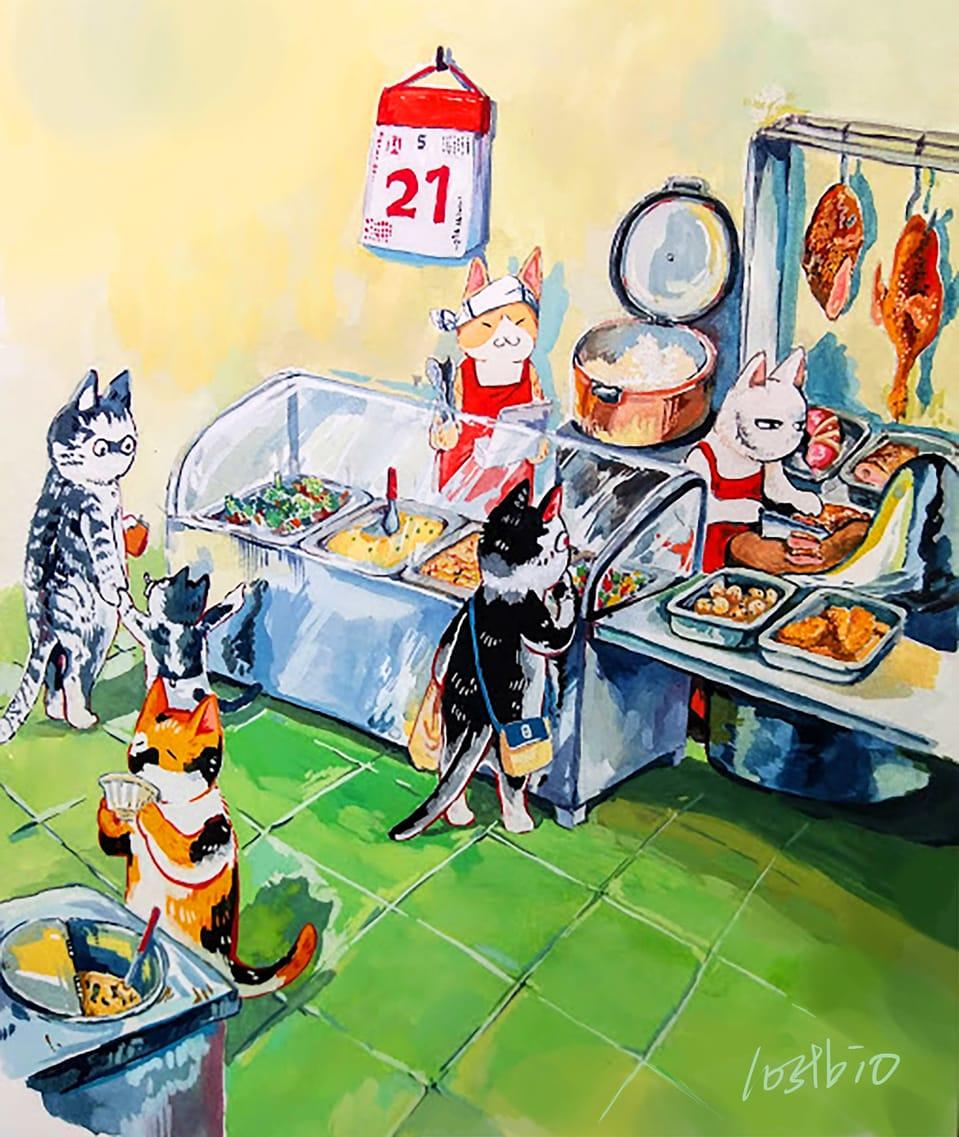 貓咪燒臘店 Illust of lostbio June2021_Anthropomorphism 貓 illustration food original