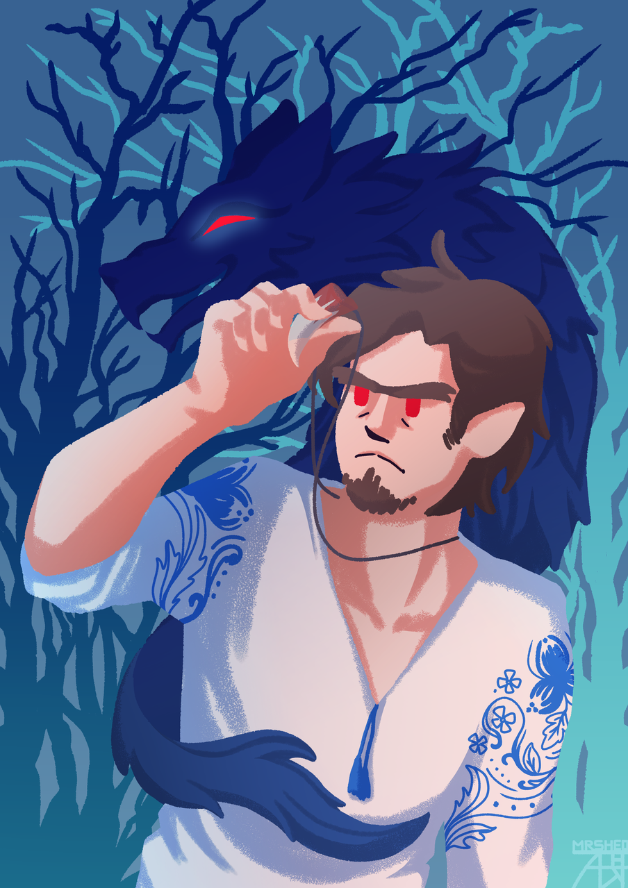 Werewolf Illust of Mr.Sheogorath medibangpaint forest demonology folklore werewolf wolf ukrdemonology ukrainian nature