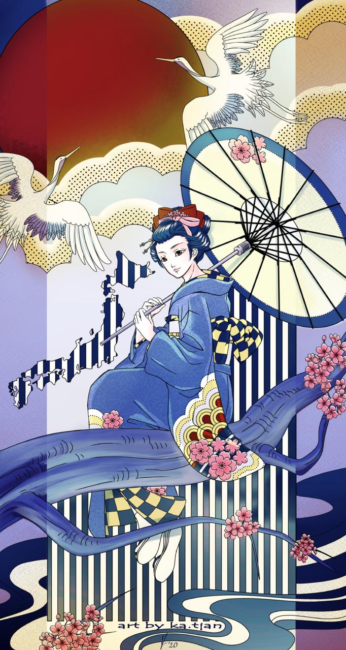 Blue kimono Illust of ka.tjan Kyoto_Award2020_illustration CLIPSTUDIOPAINT kimono kimonogirl medibang blue kawaii