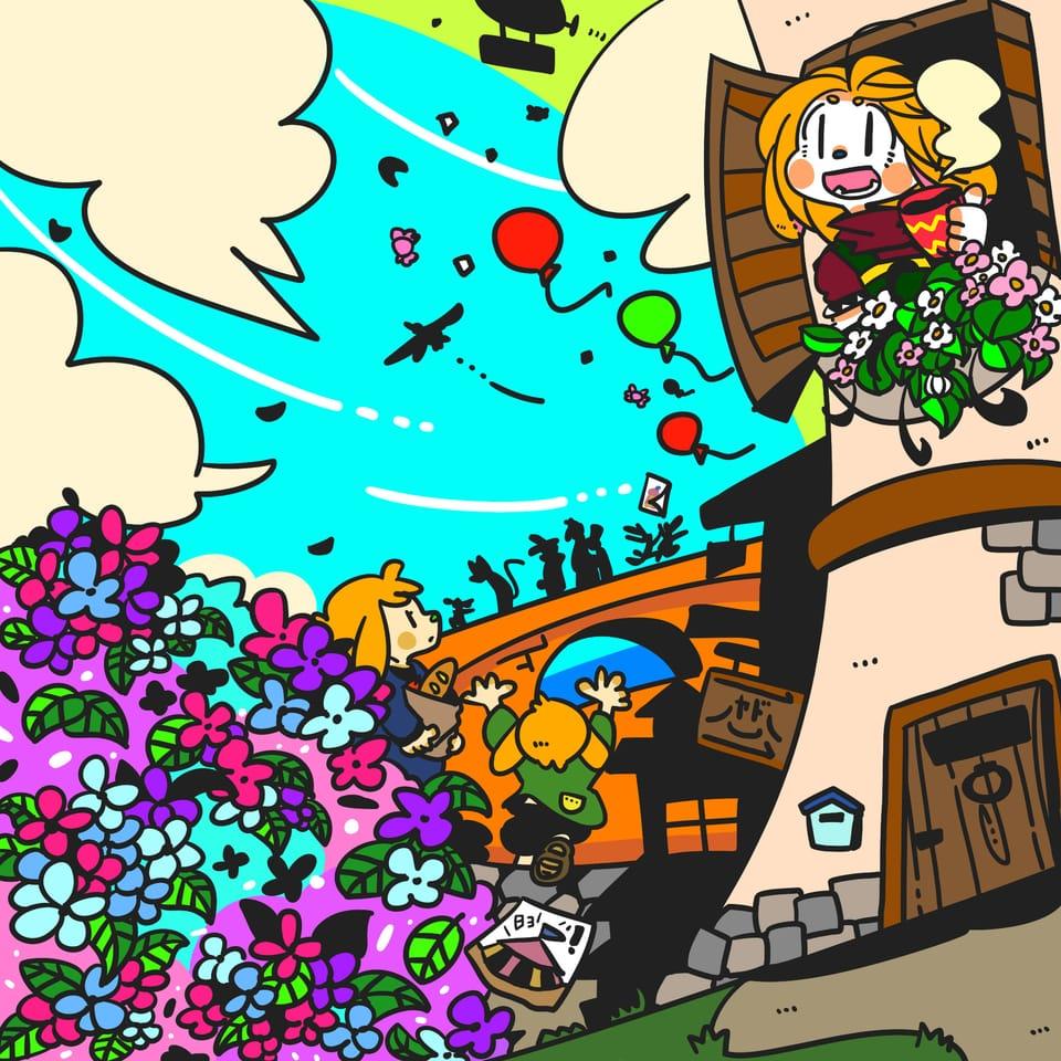 あじさいが咲く町 Illust of ハッサン April2021_Flower background 町