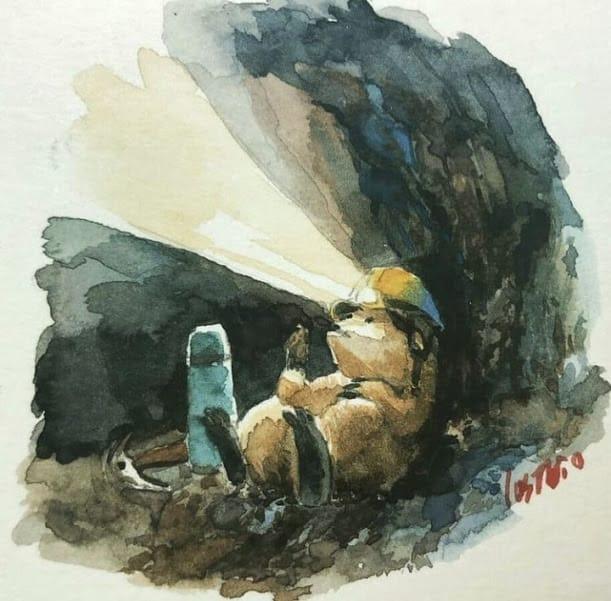 summer Illust of lostbio 夏天 watercolor 蒲公英 地鼠 beach hoilday