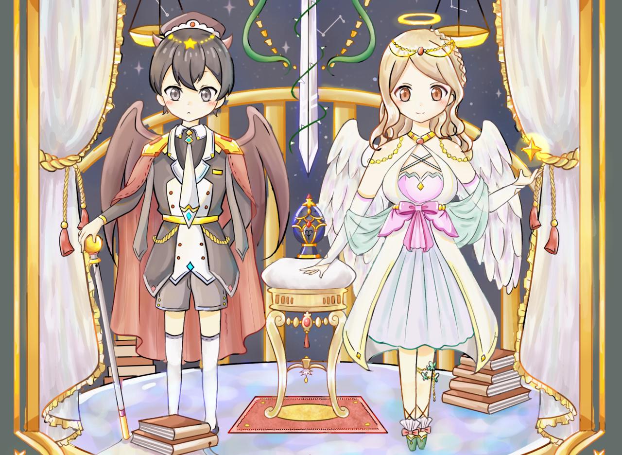 Angels and demons Illust of Sammy 子子 elf doodle animeart Comics oc art Personification Artwork manga anime