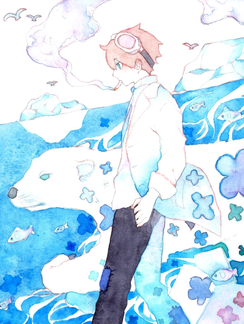 共存 Illust of ゆきまち boy 透明水彩 シロクマ
