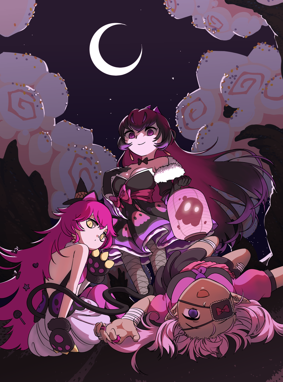 Happy Halloween! Illust of Moread Oct.2019Contest pink Yandere Princess Halloween cat_ears catgirl eyepatch