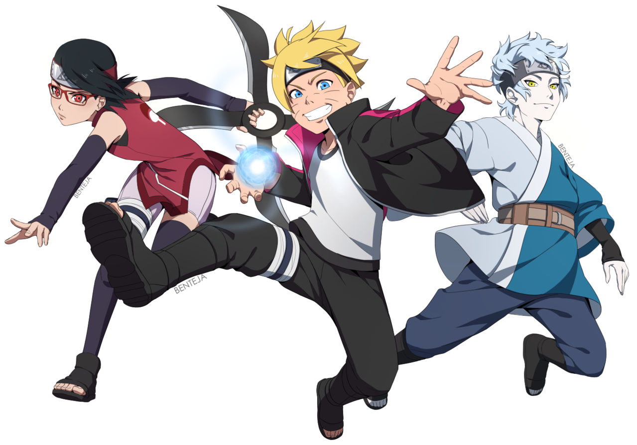 New Generation's Team 7! Illust of BenteJa 1stjumpillust Sarada Mitsuki BORUTO