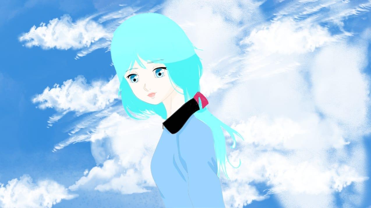 Thank you very much for my 50 subscribers! Illust of Mamibangchbi medibangpaint Mamibangchbis girl ChibiL.Rini jolie ciel cute bleue artstreet dessin