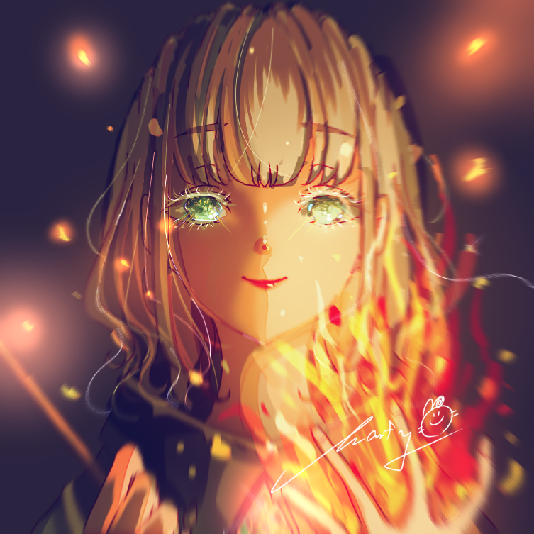 Ignite Illust of Marfy girl 魔法 fire かっこいい 炎 メルヘン kawaii blonde