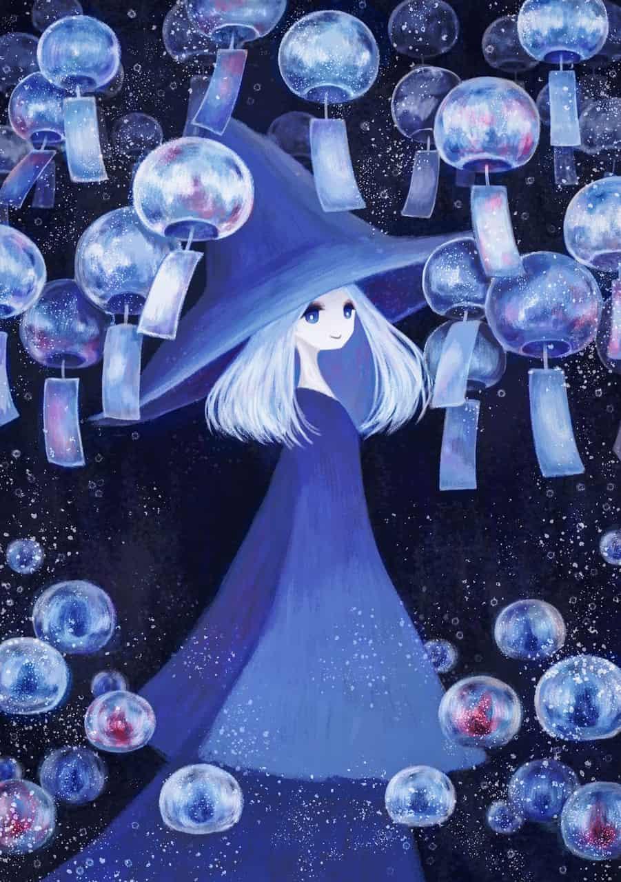 風鈴と魔女 Illust of 伊砂祐李 (Yuri Isa) white_hair witch 風鈴 medibangpaint