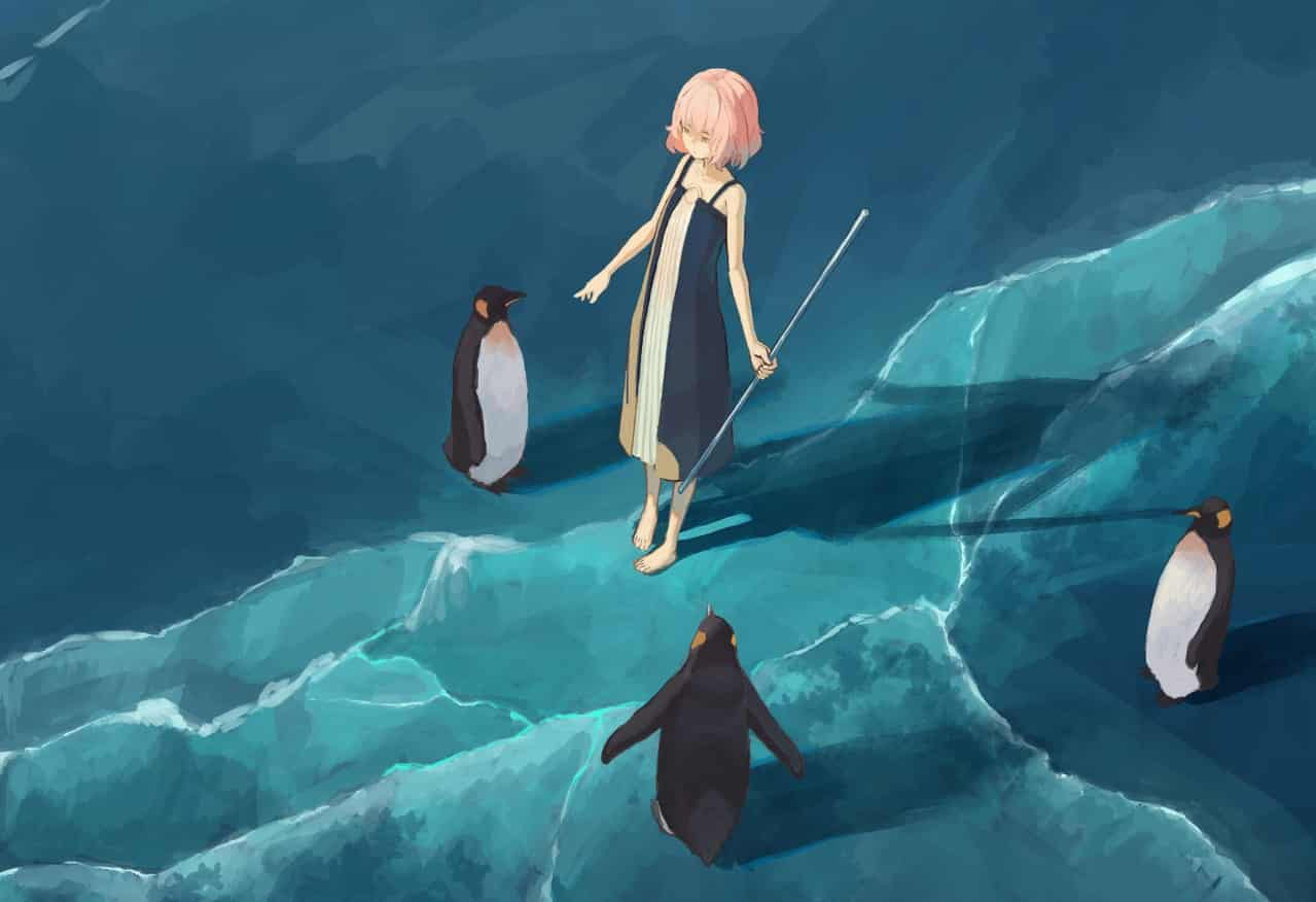 南極 Illust of OTHERS jellyfish woman Penguin ice 南極