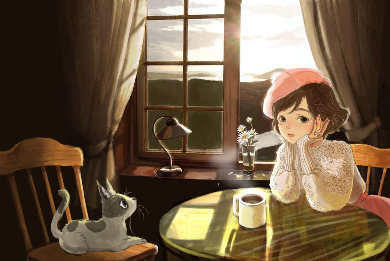 Girl and cat Illust of Charmaine Lee ART_street_Illustration_Book_Contest anime illustration illustrations cat_ears animeart