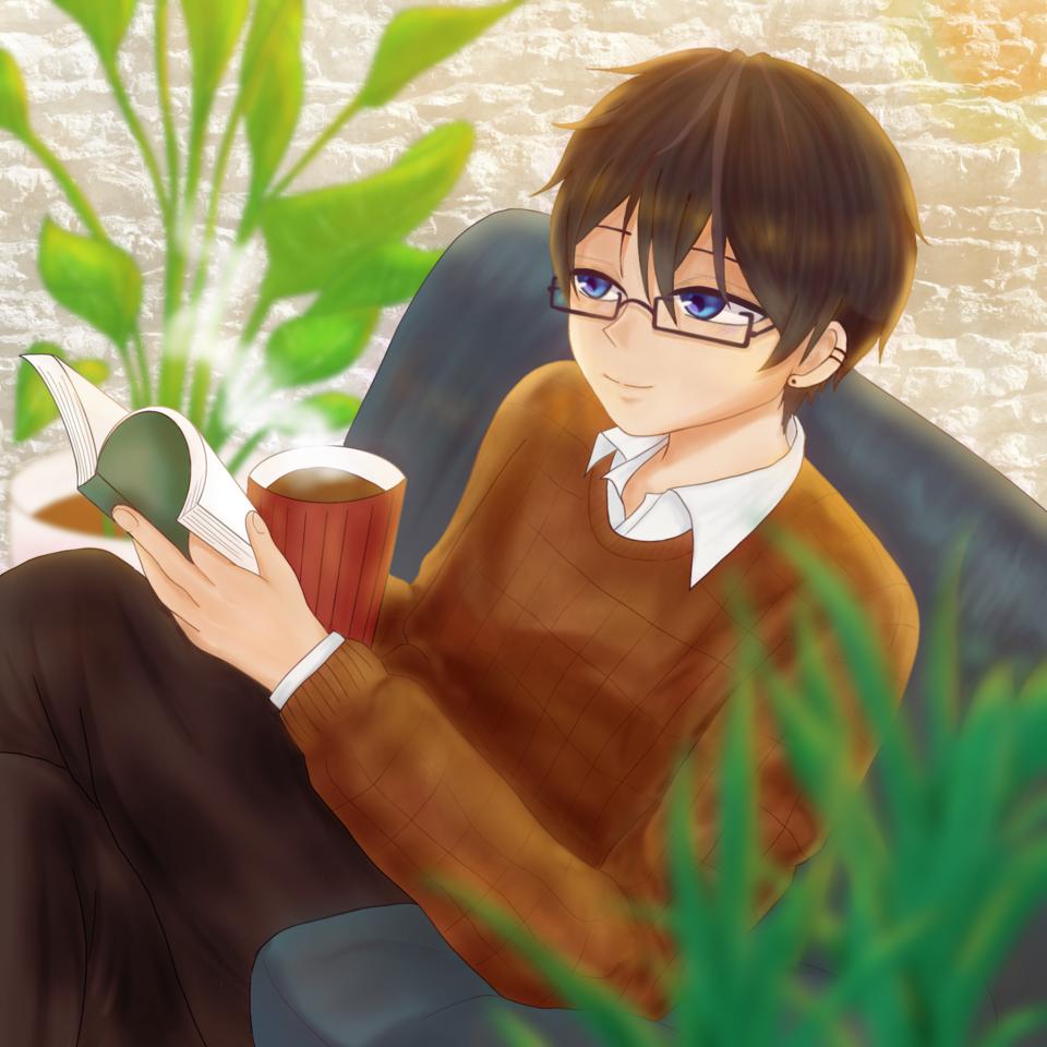 おみそさんからのリクエスト絵(代理くん) Illust of chiwo 観葉植物 request 代理 眼鏡男子 boy おみそしるを食べたい人たち 読書