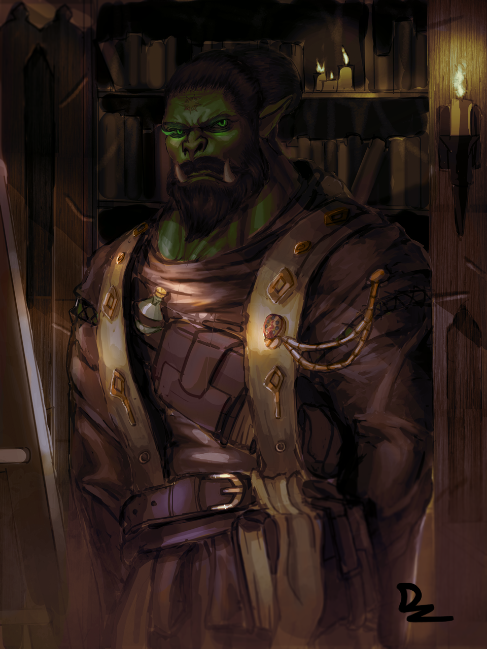 Cleric Orc Illust of D'zaky fantasy February2021_Fantasy monster ogre books library Librarian orc
