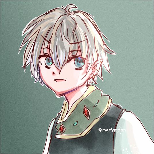クソざつイケメンくん Illust of Marfy かっこいい 宝石 piercing boy elf Fingerpaint roughsketch