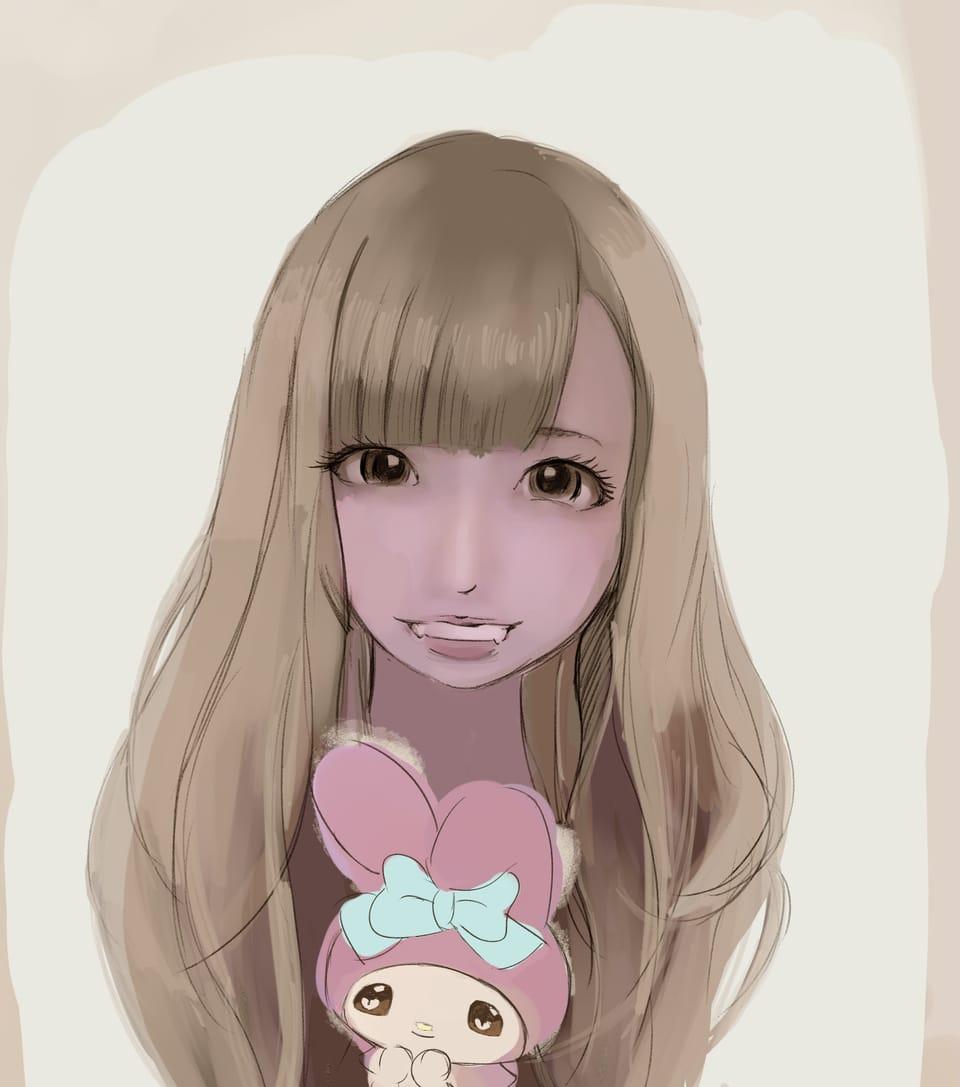 SMILE Illust of まころん☆ youkai drawing イラスト好きな人と繋がりたい kawaii illustration 似顔絵 マイメロ 美少女 oc