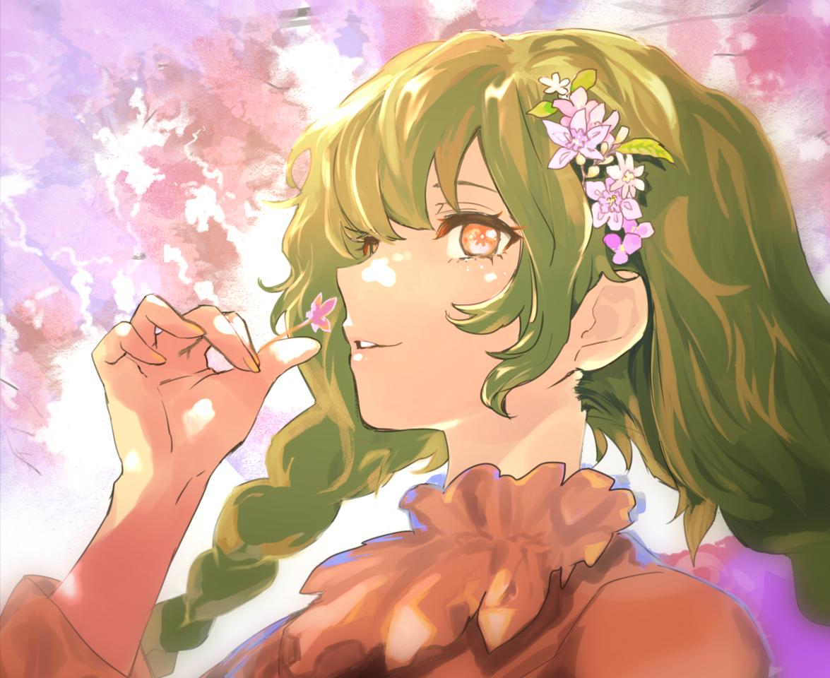女の子 Illust of koyama April2021_Flower sideface