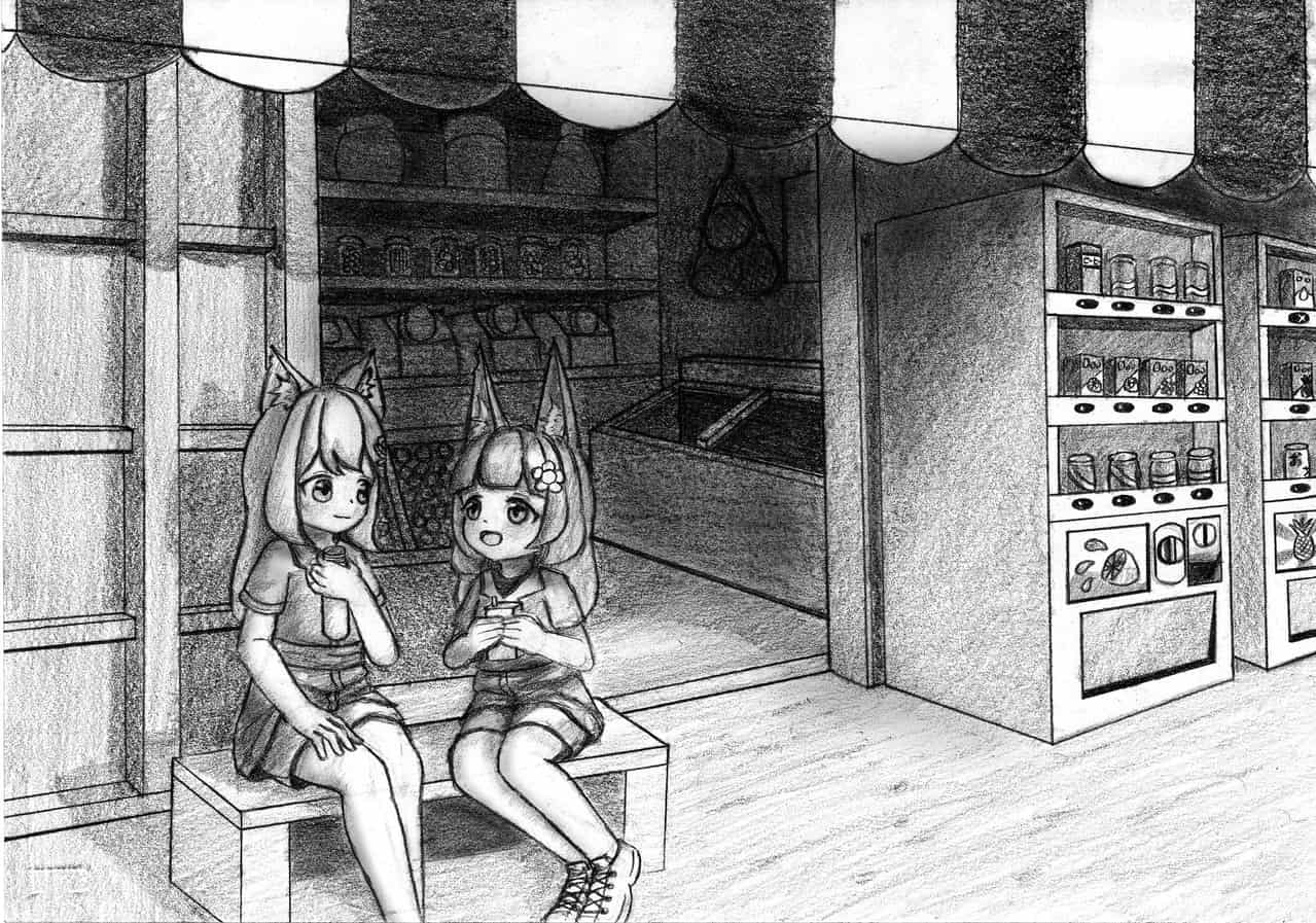 🧃駄菓子屋~ ヾ(*´∇`)ノ Illust of 狐尾猫@キツネコ May2021_Monochrome 駄菓子屋 小狐 girl 狐尾猫 scenery background 獣耳 自動販売機 よその子