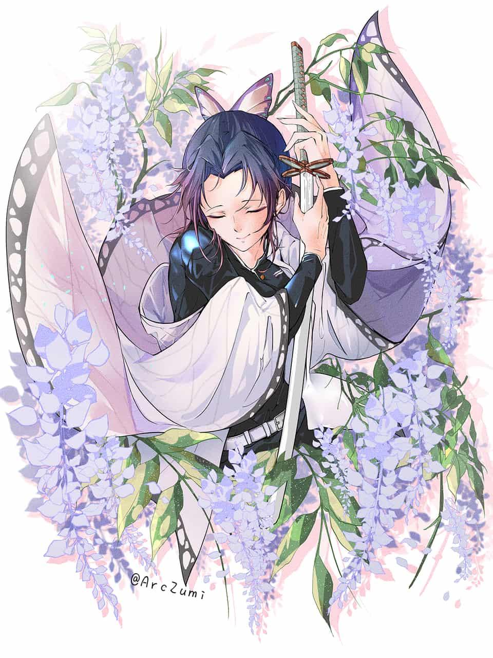花と蝶 Illust of ArcZumi DemonSlayerFanartContest KimetsunoYaiba girl KochouShinobu original 蟲柱