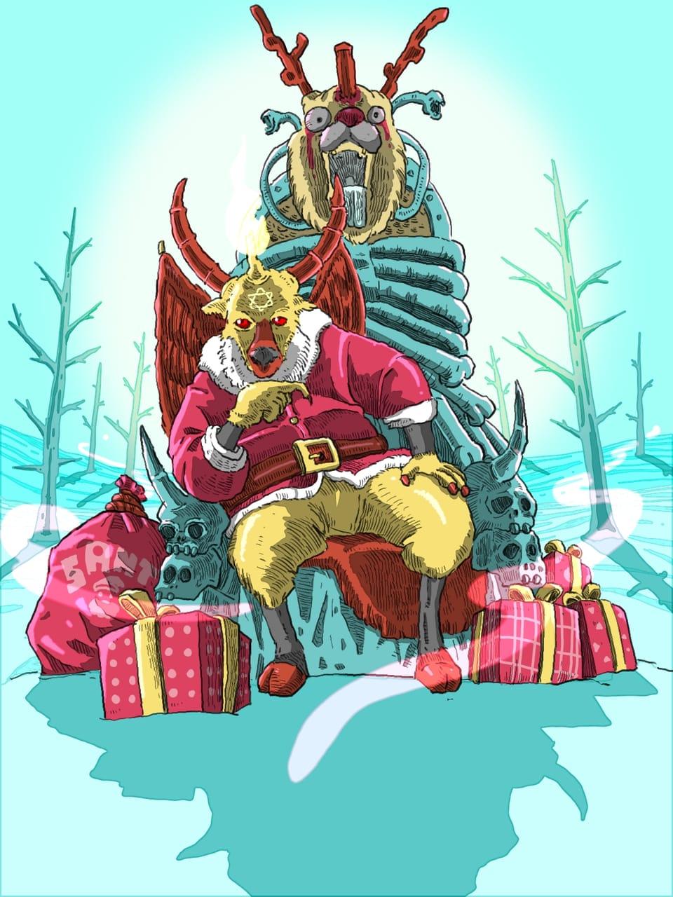 Don't spell Santaclaus to Satanclaus Illust of Wutikai fantasy December2020_Contest:Santa January2021_Contest:OC Scary Santa Japanese_style hill scenery Christmas landscapes gift SantaClaus