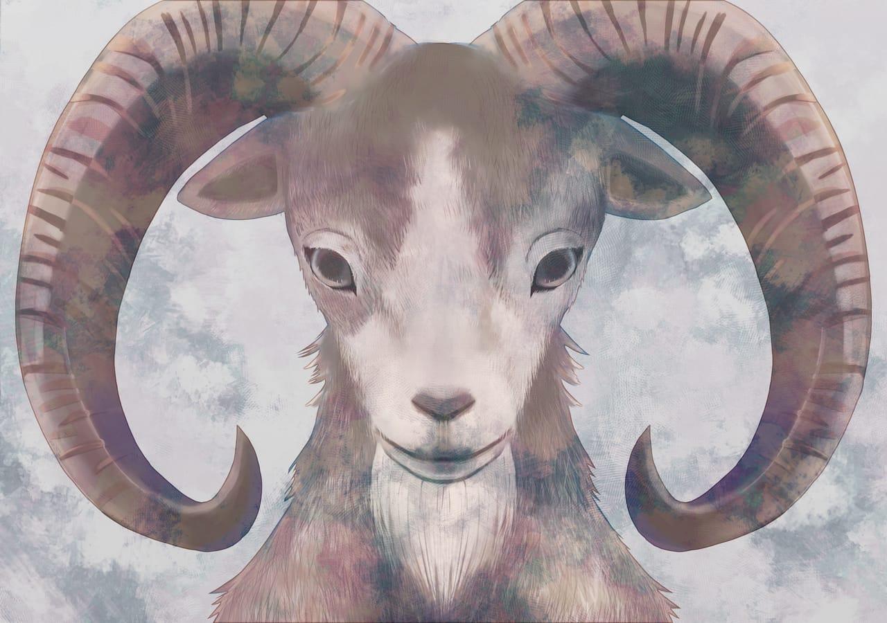 Urial Illust of yukio August2021_Animal horn animal sheep original