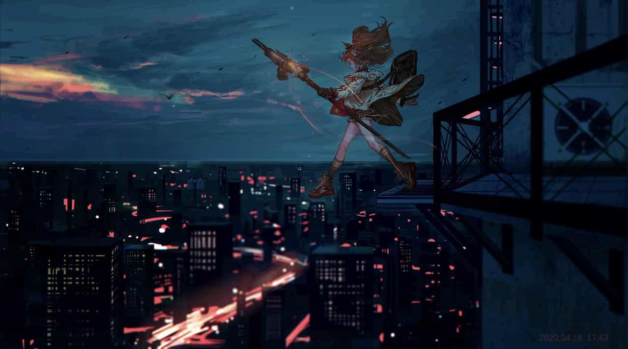 夜間運件 Illust of 澗C_23 同人 夜景 Arknights girl 安洁莉娜