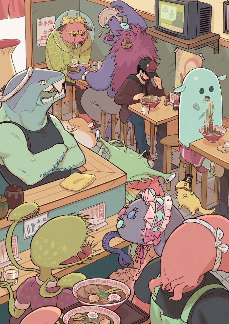 しょうゆとんこつ Illust of おいぬ March2021_Creature food Ramen