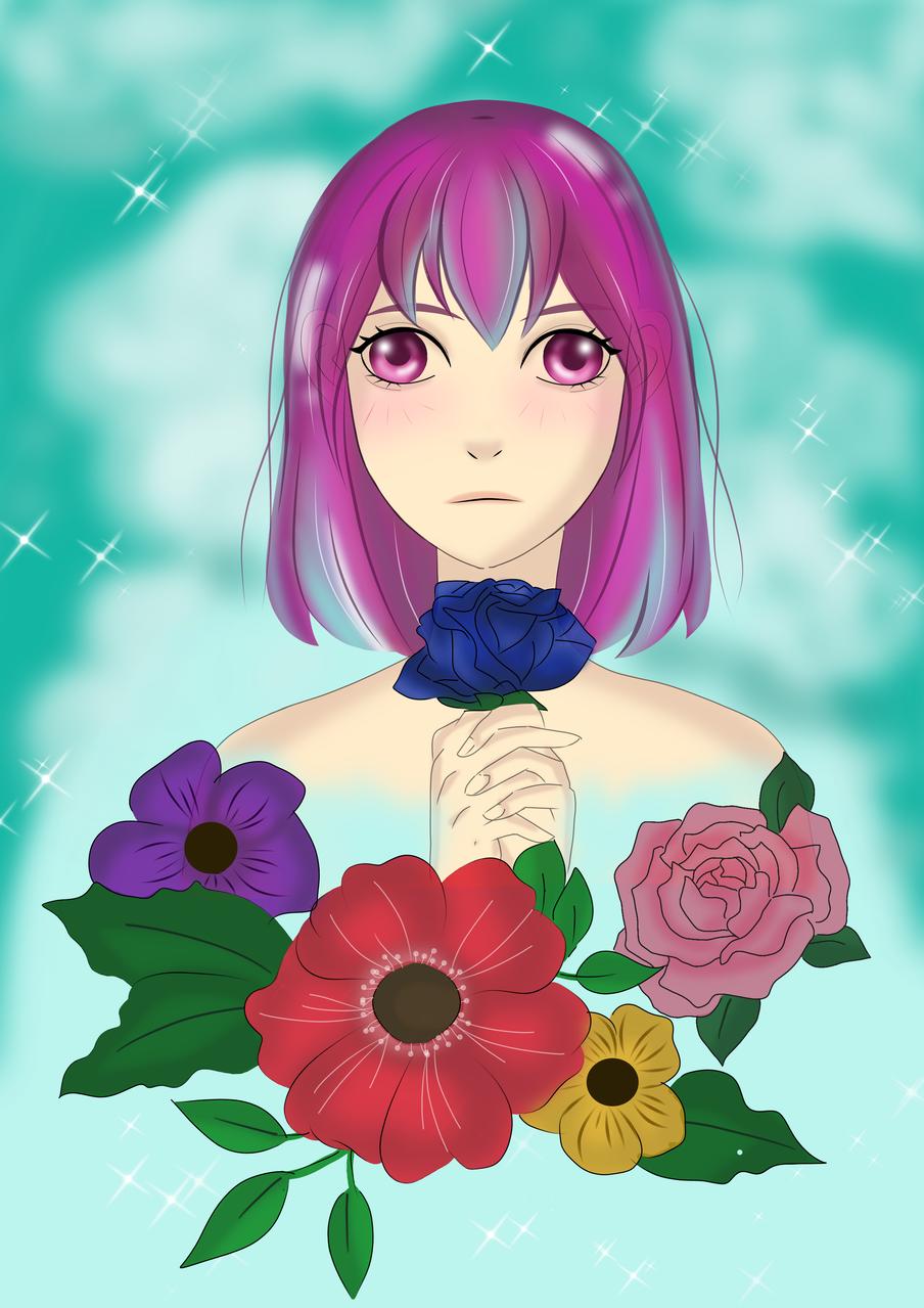 dreamy flower Illust of Hellowin April2021_Flower medibangpaint dream girl flower
