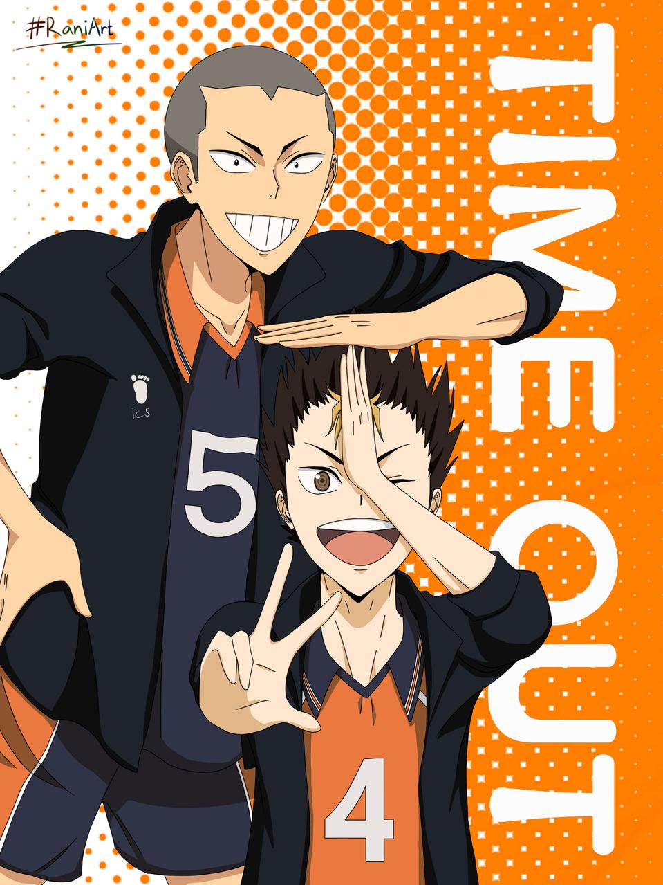 Haikyuu! Tanaka and Nishinoya Illust of Hali Tomorrow medibangpaint fanart timeout nishinoya YūNishinoya Haikyu!! RaniArt tanakaryuunosuke nishinoyayuu