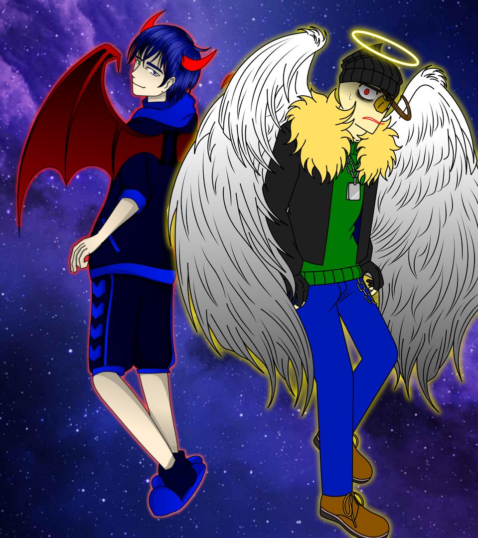 Collab with Danizinha ! Illust of ฿₳ⱠĐł ฿₳ⱠĐł₥ØⱤɆ medibangpaint devil angel fallenangel