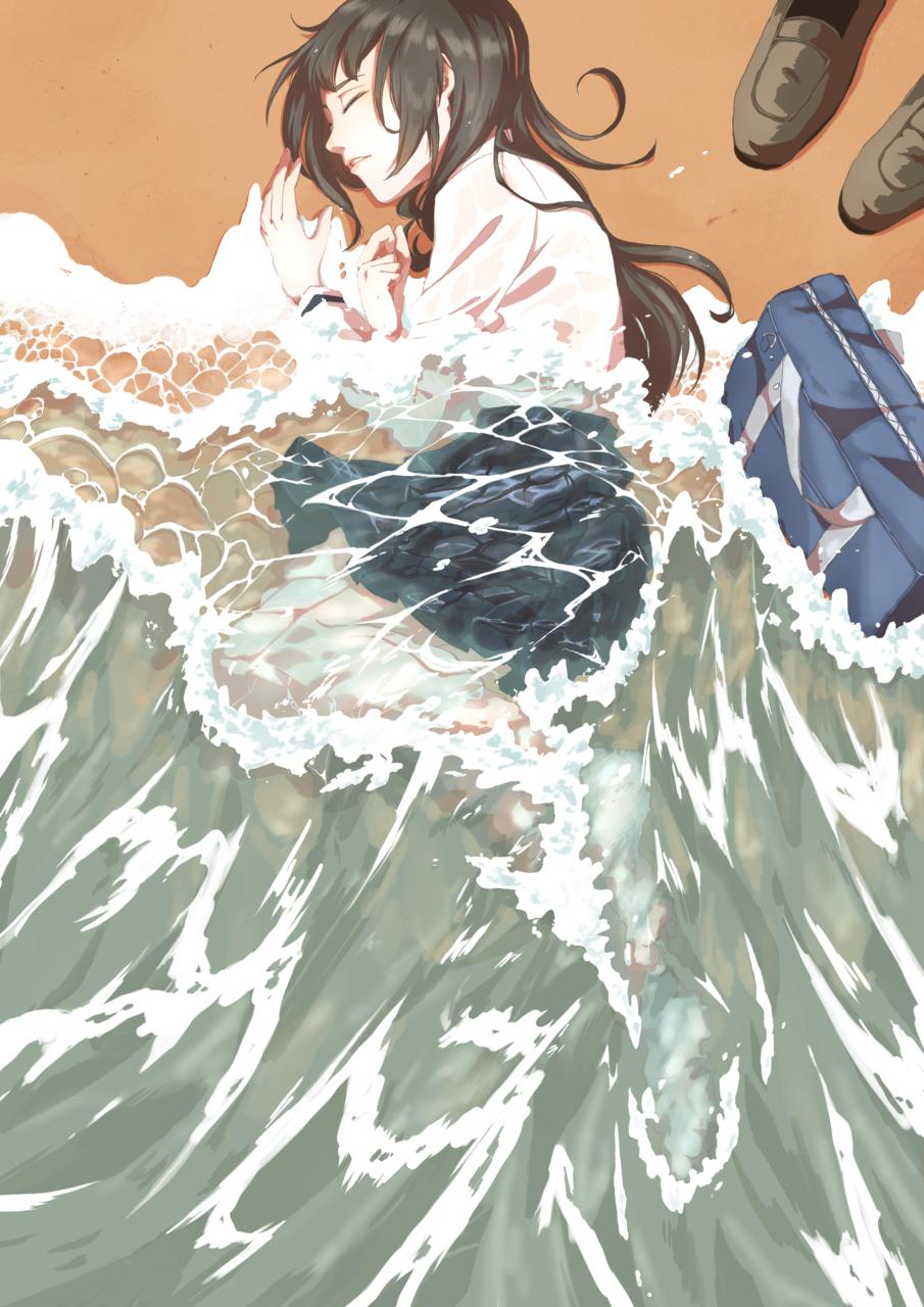 オイテケボリ Illust of 陳田こころ illustration girl sea original drawing 波打ち際 絵描き