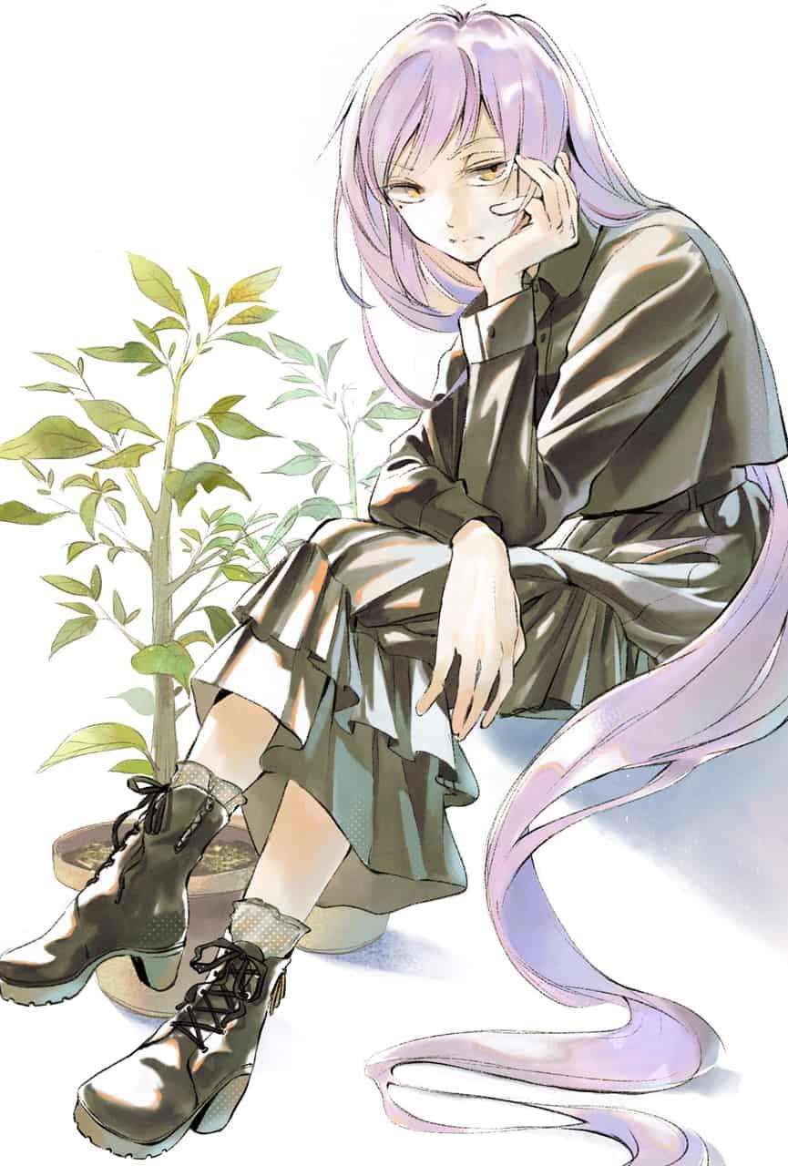 「いま光合成しているんですけど…」 Illust of 陳田こころ January2021_Contest:OC illustration painting 観葉植物 oc girl ロングヘア