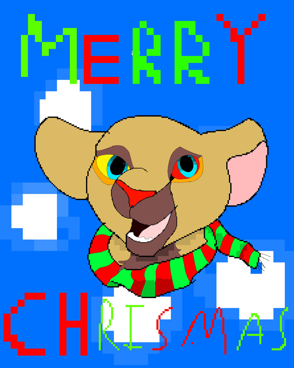 merry Christmas pixel Illust of 🦁 TurboSun 🦁 medibangpaint Lion animal TheLionKing lionbyturbosun