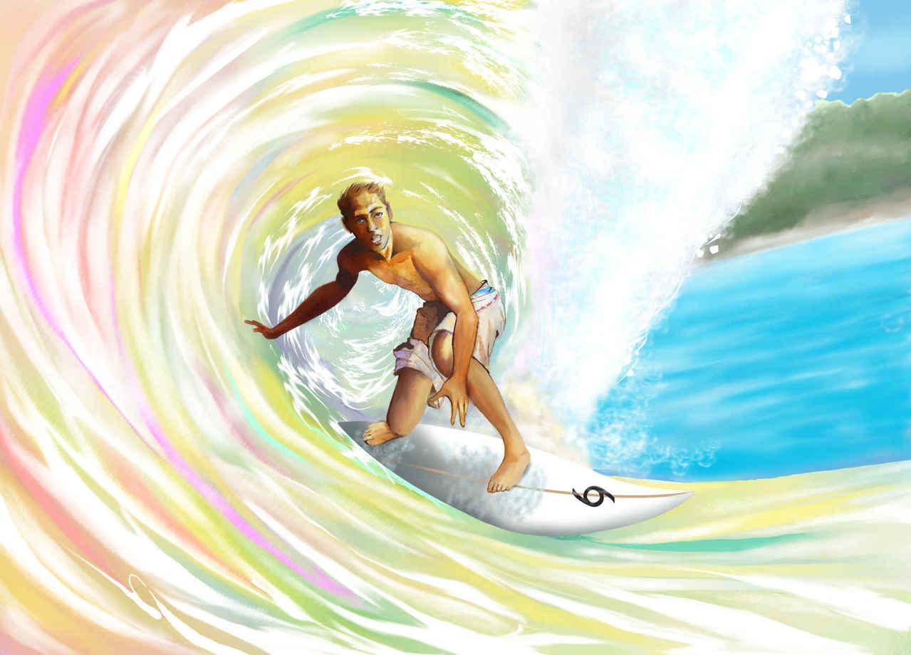 🌊虹の中に Illust of beach st boy summer ショートボード うみ rainbow サーフィン ウエ~ブ 南国