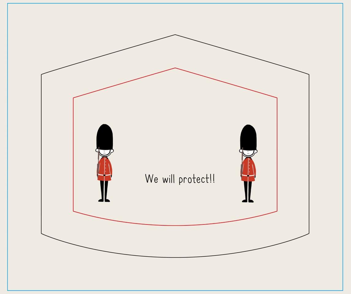 We will protect!! Illust of しとしと MaskDesignContest ゆる絵 ゆるい マスクデザイン ゆるいイラスト マスク