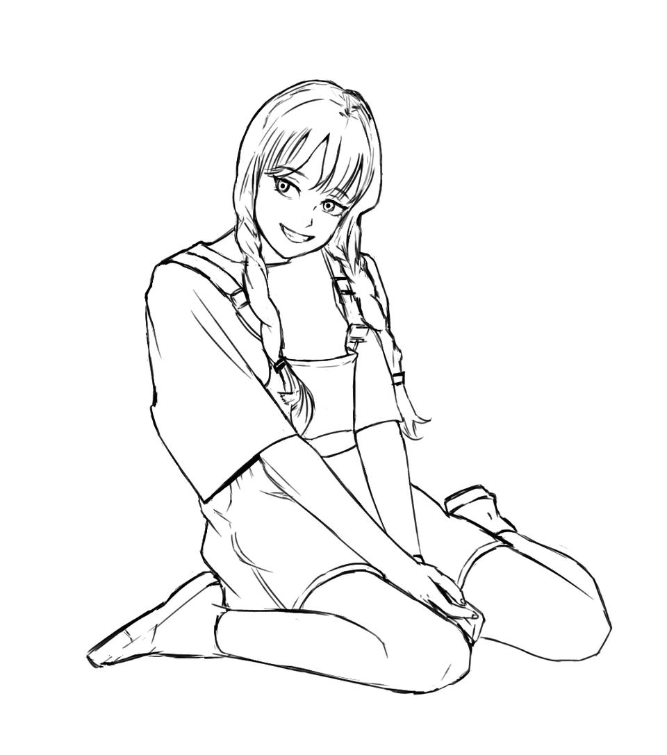 sketch study Illust of Kenjiee illustration practice girl cute art doodle drawing digital anime sketch
