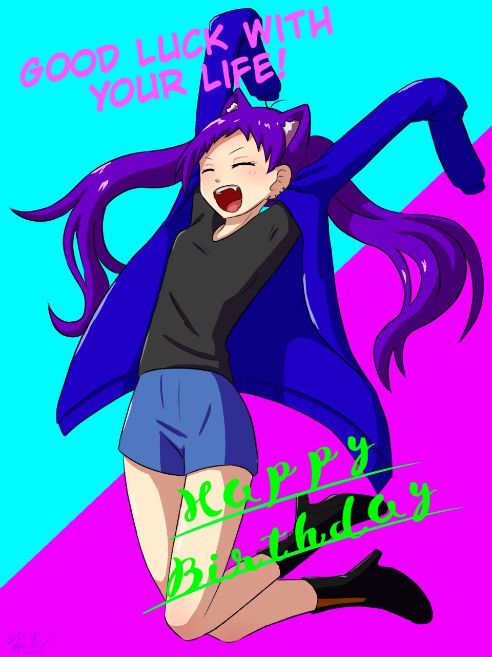 ハピバ!! Illust of 紫炎 cat_ears fanfic medibangpaint girl 河野依