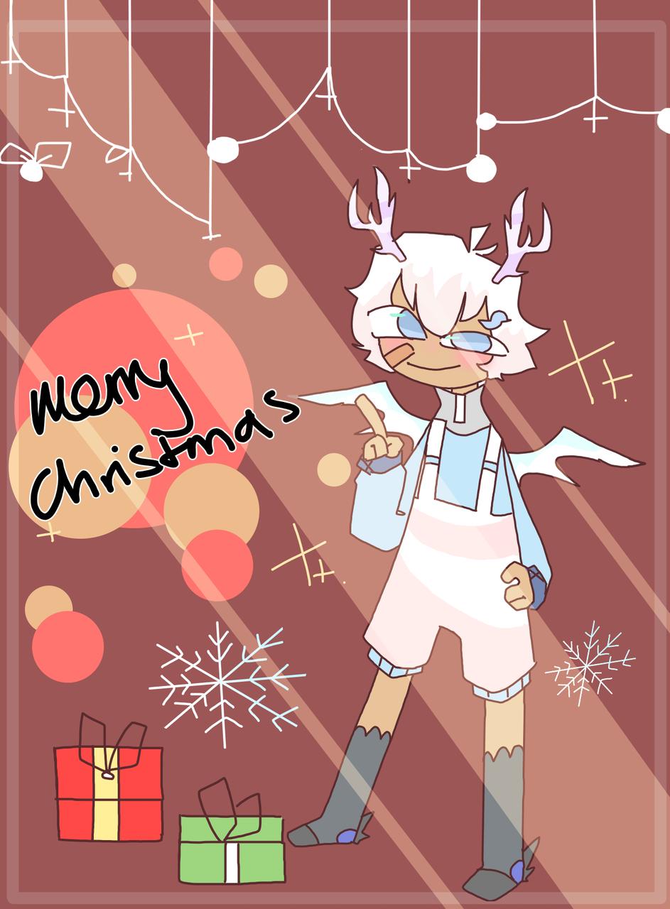 christmas homework  Illust of mint mochi Chistmas oc Aesthetic
