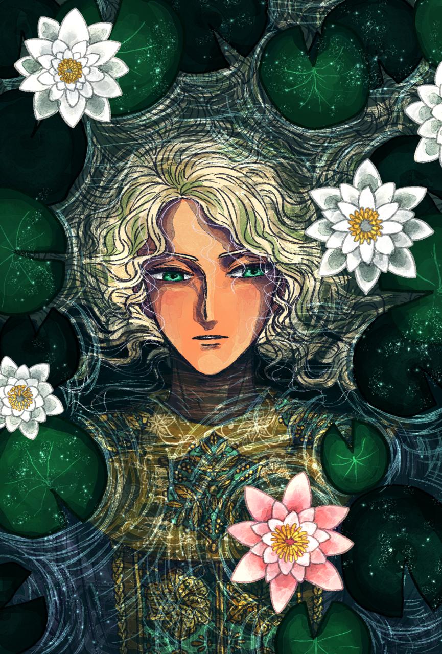 睡蓮の微睡み Illust of 朱鈴 睡蓮 青年 flower original 水面