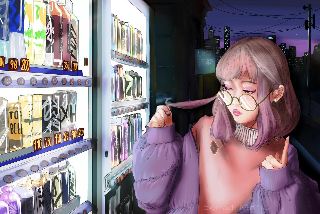 Tokyo memories  Illust of Somachi MF96 ART_street_Illustration_Book_Contest youkai original drawing FightingGame kawaii girl semirealism cute