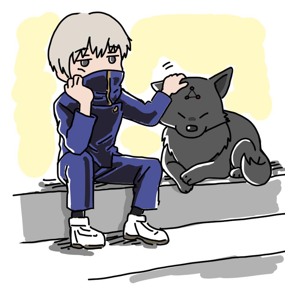 狗巻先輩と玉犬 Illust of 大森喜悦 レッツワンドロ JujutsuKaisen 狗巻棘