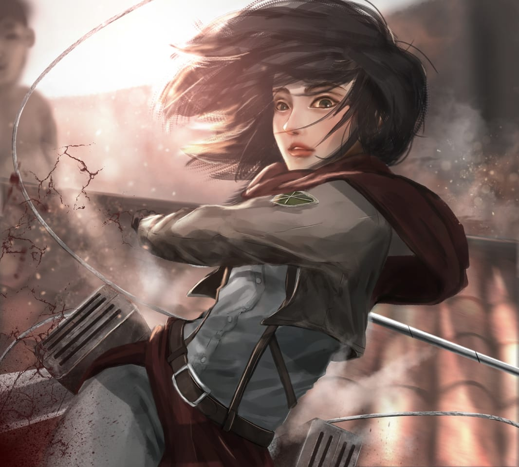 Mikasa Illust of YIDO anime girl MikasaAckerman AttackonTitan illustration Mikasa digital