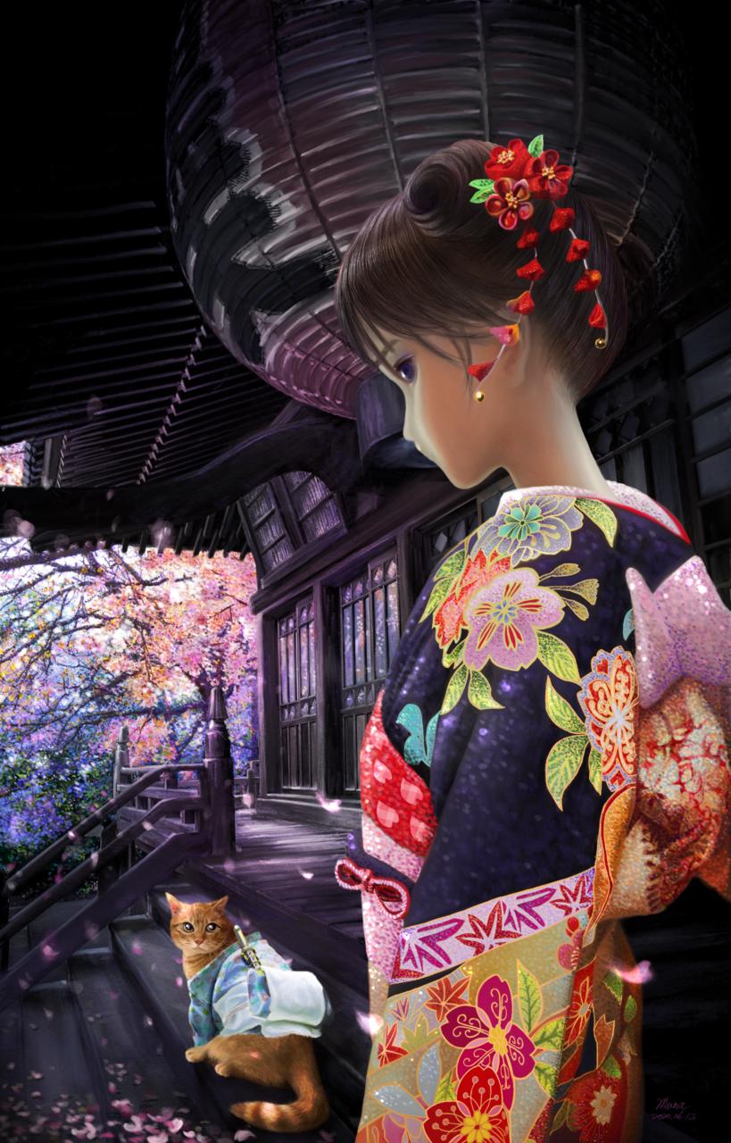 櫻飛,春華 | 愛畫畫的沐娜 Illust of muna Kyoto_Award2020_illustration ARTstreet_Ranking May.2020Contest:Cheering sakura painting digital illustration kimono kawaii pink
