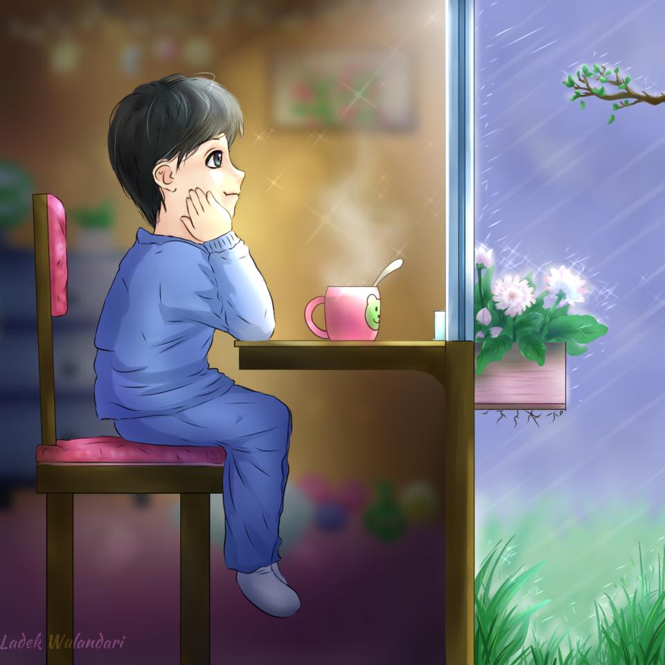 Looking at rain Illust of Ladekpoh rain illustration littleboy boy