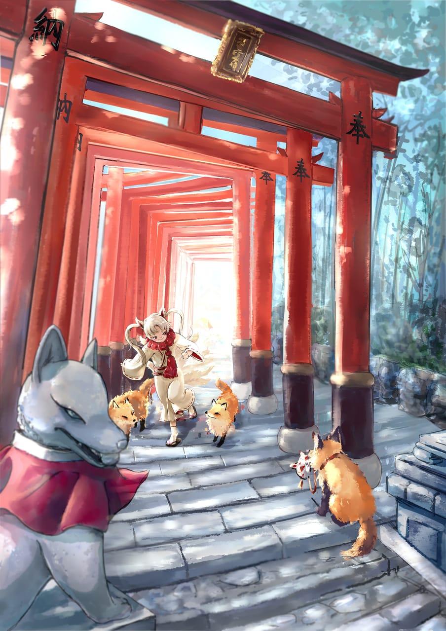 京都伏見稻荷大社-狐狸神使 Illust of 北魚 Kyoto_Award2021[illustration] 京都 神社 伏見稻荷 狐狸 鳥居 狐狸面具
