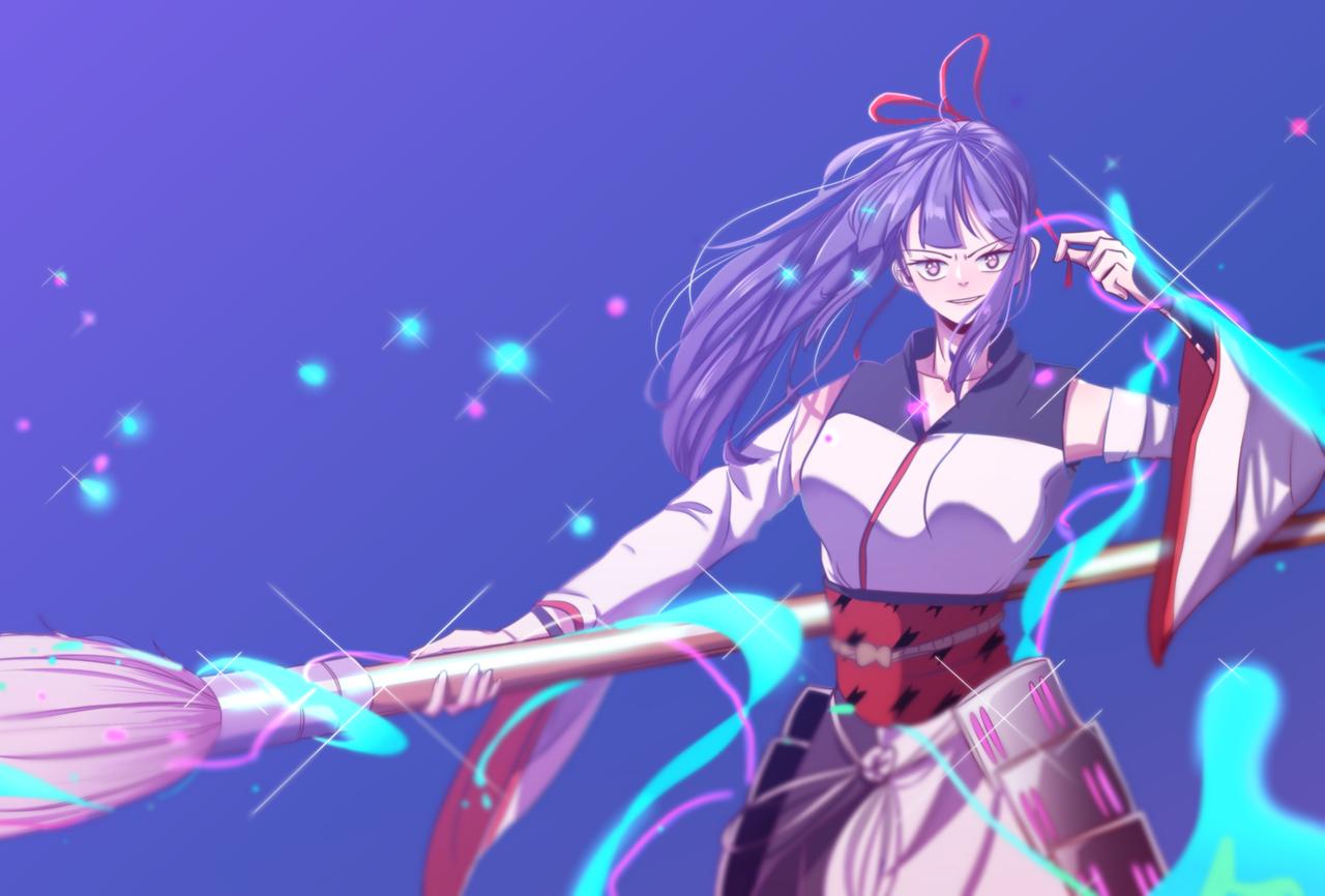 Ayame in competition mode Illust of Princewer General_Election_Ayame MediBang_General_Election violet girl ayame ribbon fanart brush