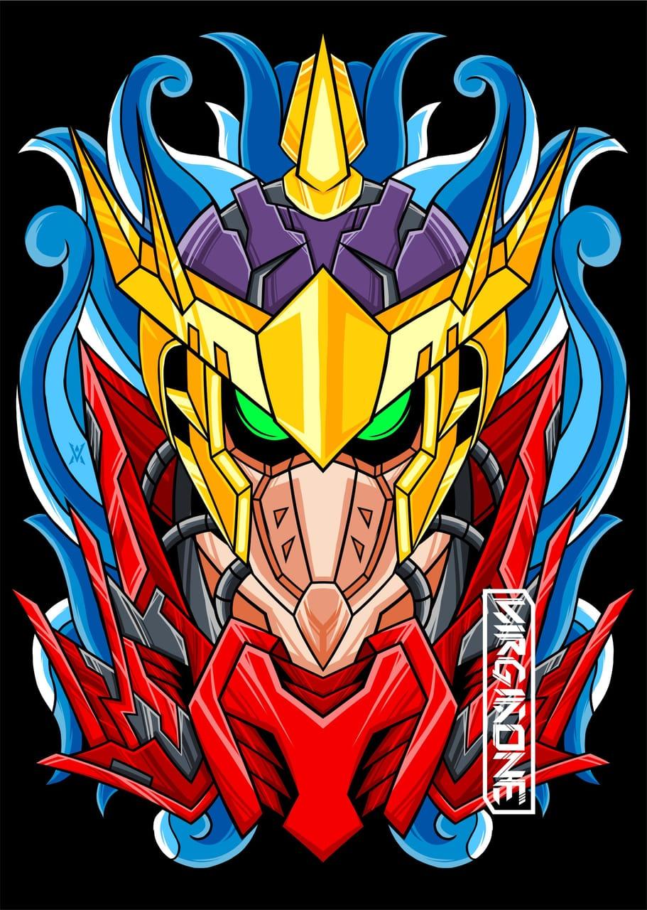 WARRIOR SPIRIT Illust of virgiaone March2021_Creature MySecretSocietyContest manga demon SHAMANKING oni monster anime robots devil mecha bason