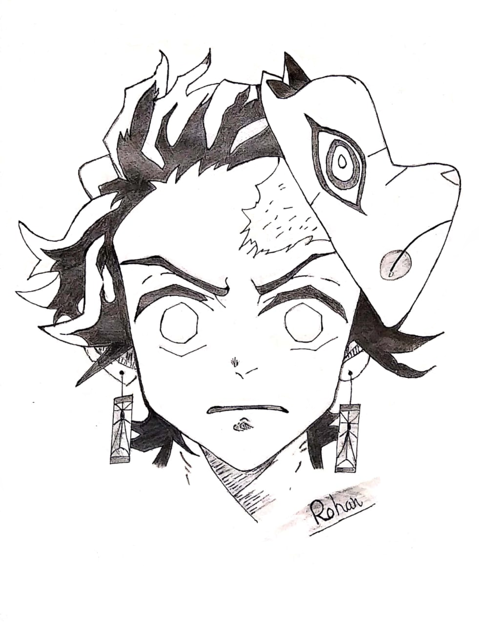 Tanjiro Black & White Illustration Illust of Sinchan96 sci-fi DemonSlayerFanartContest sketch fanart medibangpaint anime illustration KimetsunoYaiba blackandwhite manga